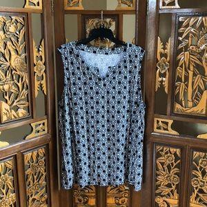Kim Rogers Black&White Print Top Size 2X